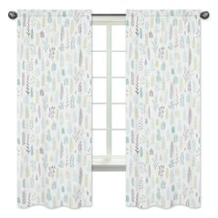 Blue and Grey Tropical Leaf Window Treatment Panels Curtains by Sweet Jojo Designs - Set of 2 - Turquoise, Gray and Green Botanical Rainforest Jungle Sloth Collection