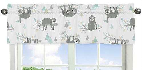 Blue and Grey Tropical Leaf Window Treatment Valance by Sweet Jojo Designs - Turquoise, Gray and Green Botanical Rainforest Jungle Sloth Collection - Click to enlarge