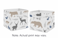 Blue and Grey Woodland Animals Foldable Fabric Storage Cube Bins Boxes Organizer Toys Kids Baby Childrens for Collection by Sweet Jojo Designs - Set of 2