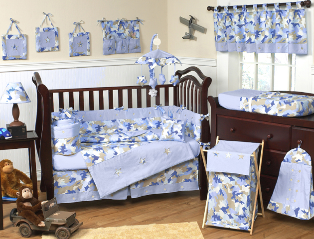 Blue And Khaki Camo Army Camouflage Baby And Kids Wall Paper Border