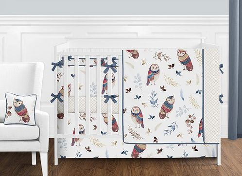 Blue and Red Woodland Owl Baby Girl Nursery Crib Bedding Set with Bumper by Sweet Jojo Designs - 9 pieces - Gold, Beige, Brown and Burgundy Watercolor Boho Feather Forest - Click to enlarge