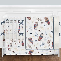 Blue and Red Woodland Owl Baby Girl Nursery Crib Bedding Set with Bumper by Sweet Jojo Designs - 9 pieces - Gold, Beige, Brown and Burgundy Watercolor Boho Feather Forest