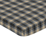Blue and Tan Woodland Plaid Flannel Baby Fitted Mini Portable Crib Sheet for Rustic Patch Collection by Sweet Jojo Designs