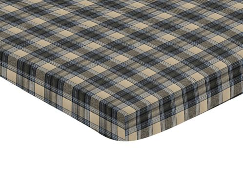 Blue and Tan Woodland Plaid Flannel Baby Fitted Mini Portable Crib Sheet for Rustic Patch Collection by Sweet Jojo Designs - Click to enlarge