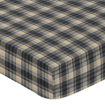 Blue and Tan Woodland Plaid Flannel Baby or Toddler Fitted Crib Sheet for Rustic Patch Collection by Sweet Jojo Designs