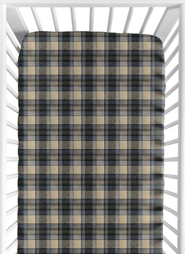 Blue and Tan Woodland Plaid Flannel Baby or Toddler Fitted Crib Sheet for Rustic Patch Collection by Sweet Jojo Designs - Click to enlarge