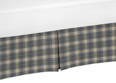 Blue and Tan Woodland Plaid Flannel Boy Pleated Crib Bed Skirt Dust Ruffle for Rustic Patch Collection by Sweet Jojo Designs