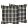 Blue and Tan Woodland Plaid Flannel Decorative Accent Throw Pillows for Rustic Patch Collection by Sweet Jojo Designs - Set of 2