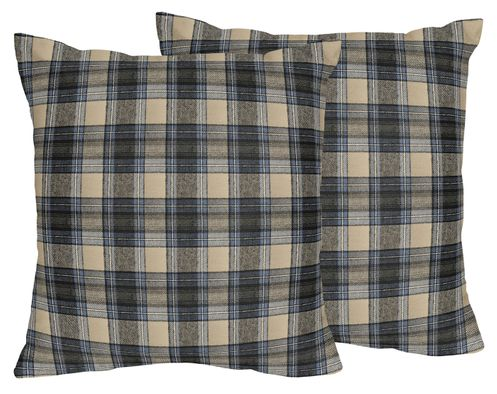 Blue and Tan Woodland Plaid Flannel Decorative Accent Throw Pillows for Rustic Patch Collection by Sweet Jojo Designs - Set of 2 - Click to enlarge