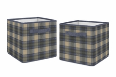 Blue and Tan Woodland Plaid Flannel Organizer Storage Bins for Rustic Patch Collection by Sweet Jojo Designs - Set of 2
