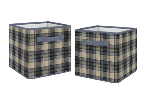 Blue and Tan Woodland Plaid Flannel Organizer Storage Bins for Rustic Patch Collection by Sweet Jojo Designs - Set of 2 - Click to enlarge
