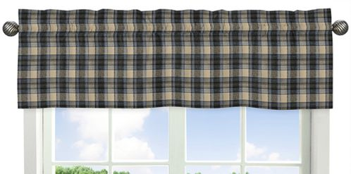 Blue and Tan Woodland Plaid Flannel Window Treatment Valance for Rustic Patch Collection by Sweet Jojo Designs - Click to enlarge
