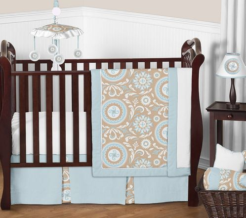 Blue and Taupe Hayden Baby Bedding - 11pc Crib Set by Sweet Jojo Designs - Click to enlarge
