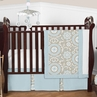 Blue and Taupe Hayden Baby Bedding - 4pc Crib Set by Sweet Jojo Designs