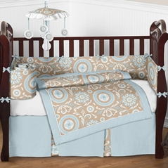 Blue and Taupe Hayden Baby Bedding - 9pc Crib Set by Sweet Jojo Designs