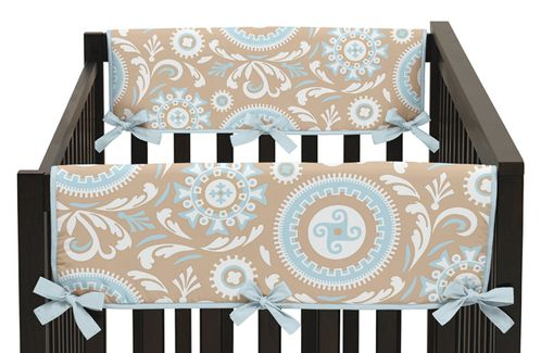 Blue and Taupe Hayden Baby Crib Side Rail Guard Covers by Sweet Jojo Designs - Set of 2 - Click to enlarge
