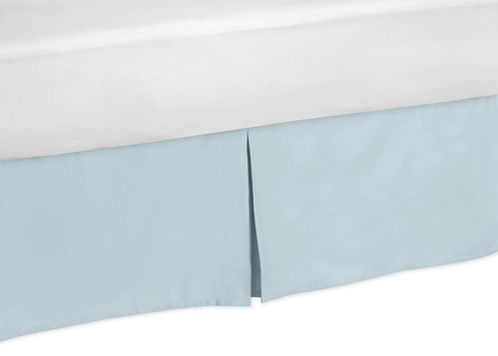 Blue and Taupe Hayden Bed Skirt for Toddler Bedding Sets by Sweet Jojo Designs - Click to enlarge