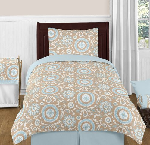 Blue and Taupe Hayden Childrens and Kids Bedding - 4pc Twin Set by Sweet Jojo Designs - Click to enlarge