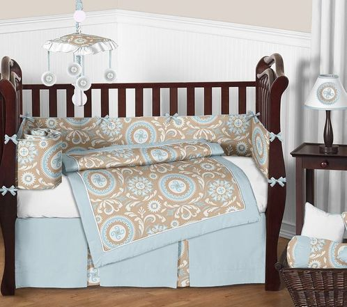 Blue and Taupe Hayden Baby Bedding - 9pc Crib Set by Sweet Jojo Designs - Click to enlarge