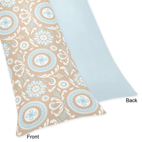 Blue and Taupe Hayden Full Length Double Zippered Body Pillow Case Cover by Sweet Jojo Designs - Click to enlarge