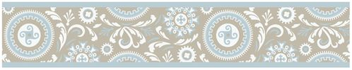 Blue and Taupe Hayden Kids and Baby Modern Wall Paper Border by Sweet Jojo Designs - Click to enlarge