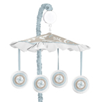 Blue and Taupe Hayden Musical Baby Crib Mobile by Sweet Jojo Designs