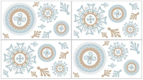 Blue and Taupe Hayden Peel and Stick Wall Decal Stickers Art Nursery Decor by Sweet Jojo Designs - Set of 4 Sheets - Click to enlarge