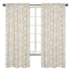 Blue and Taupe Hayden Print Window Treatment Panels by Sweet Jojo Designs - Set of 2