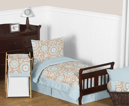 Blue and Taupe Hayden Toddler Bedding 5pc Set by Sweet Jojo Designs