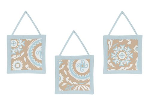 Blue and Taupe Hayden Wall Hanging Accessories by Sweet Jojo Designs - Click to enlarge