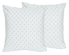 Blue and White Polka Dot Decorative Accent Throw Pillows by Sweet Jojo Designs - Set of 2 - Watercolor Floral Shabby Chic Collection