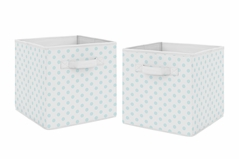 Blue and White Polka Dot Foldable Fabric Storage Cube Bins Boxes Organizer Toys Kids Baby Childrens by Sweet Jojo Designs - Set of 2 - for the Watercolor Floral Shabby Chic Collection