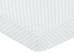 Blue and White Polka Dot Girl Fitted Crib Sheet Baby or Toddler Bed Nursery by Sweet Jojo Designs - Watercolor Floral Shabby Chic Collection