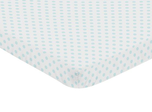 Blue and White Polka Dot Girl Fitted Mini Crib Sheet Baby Nursery by Sweet Jojo Designs For Portable Crib or Pack and Play - Watercolor Floral Shabby Chic Collection - Click to enlarge