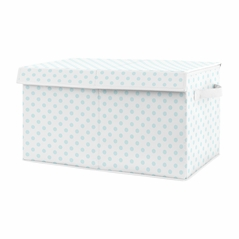 Blue and White Polka Dot Girl Small Fabric Toy Bin Storage Box Chest For Baby Nursery or Kids Room by Sweet Jojo Designs - for the Navy and Blush Pink Shabby Chic Boho Watercolor Floral Rose Flower Collection