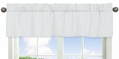 Blue and White Polka Dot Window Treatment Valance by Sweet Jojo Designs - Watercolor Floral Shabby Chic Collection