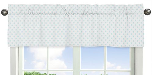 Blue and White Polka Dot Window Treatment Valance by Sweet Jojo Designs - Watercolor Floral Shabby Chic Collection - Click to enlarge