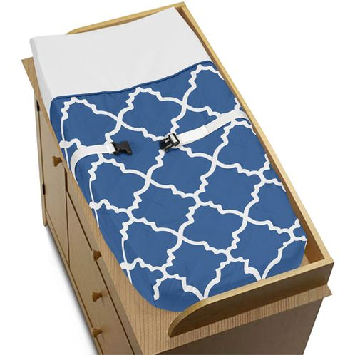 Blue and White Trellis Baby Changing Pad Cover by Sweet Jojo Designs - Click to enlarge