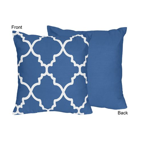 Blue and White Trellis Decorative Accent Throw Pillow by Sweet Jojo Designs - Click to enlarge