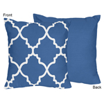 Blue and White Trellis Decorative Accent Throw Pillow by Sweet Jojo Designs