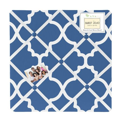 Blue and White Trellis Fabric Memory/Memo Photo Bulletin Board - Click to enlarge