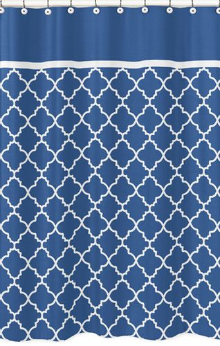Blue and White Trellis Kids Bathroom Fabric Bath Shower Curtain - Click to enlarge