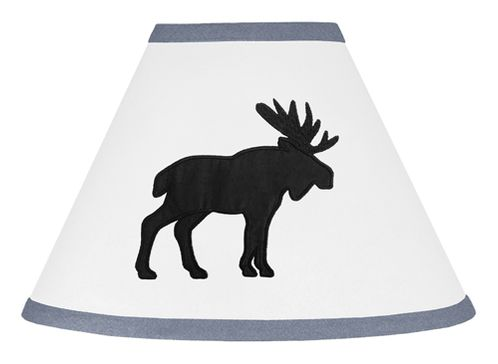 Blue, Black and White Woodland Moose Lamp Shade for Rustic Patch Collection by Sweet Jojo Designs - Click to enlarge