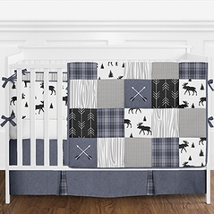 Blue, Grey and Black Woodland Plaid and Arrow Rustic Patch Baby Boy Crib Bedding Set with Bumper by Sweet Jojo Designs - 9 pieces - Flannel Moose Gray