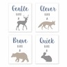 Blue, Grey and Taupe Wall Art Prints Room Decor for Baby, Nursery, and Kids for Woodland Animals Collection by Sweet Jojo Designs - Set of 4 - Gentle, Clever, Brave, Quick