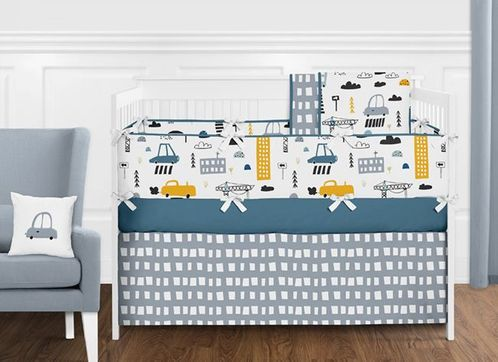 Blue, Grey, Black and White Transportation Car Baby Boy Nursery Crib Bedding Set with Bumper by Sweet Jojo Designs - 9 pieces - Construction Truck - Click to enlarge
