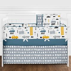 Blue, Grey, Black and White Transportation Car Baby Boy Nursery Crib Bedding Set with Bumper by Sweet Jojo Designs - 9 pieces - Construction Truck