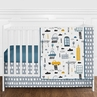 Blue, Grey, Black and White Transportation Car Baby Boy Nursery Crib Bedding Set without Bumper by Sweet Jojo Designs - 4 pieces - Construction Truck