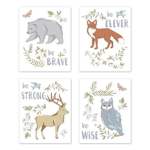 Blue, Grey, Brown and Orange Wall Art Prints Room Decor for Baby, Nursery, and Kids for Woodland Animal Toile Collection by Sweet Jojo Designs - Set of 4 - Brave, Clever, Strong, Wise - Click to enlarge