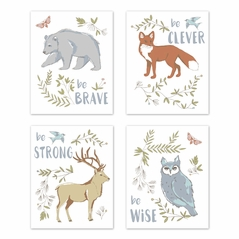 Blue, Grey, Brown and Orange Wall Art Prints Room Decor for Baby, Nursery, and Kids for Woodland Animal Toile Collection by Sweet Jojo Designs - Set of 4 - Brave, Clever, Strong, Wise